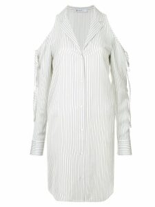 T By Alexander Wang cold shoulder striped shirt - White