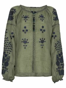 Vita Kin Peacock Linen Top - Green