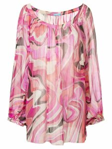 Emilio Pucci Pre-Owned abstract print sheer blouse - Multicolour