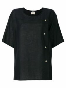 Giorgio Armani Pre-Owned buttoned crew neck T-shirt - Black