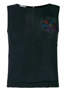 Moschino Pre-Owned frayed patch sleeveless blouse - Black