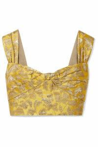 Prada - Cropped Metallic Brocade Top - Yellow