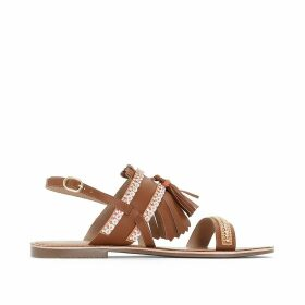 Leather Sandals with Pompom Detail