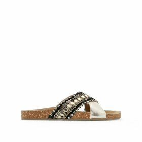 Beaded Leather Mules
