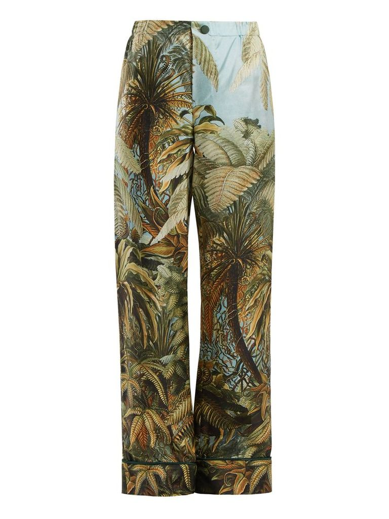 Etere foliage-print silk trousers