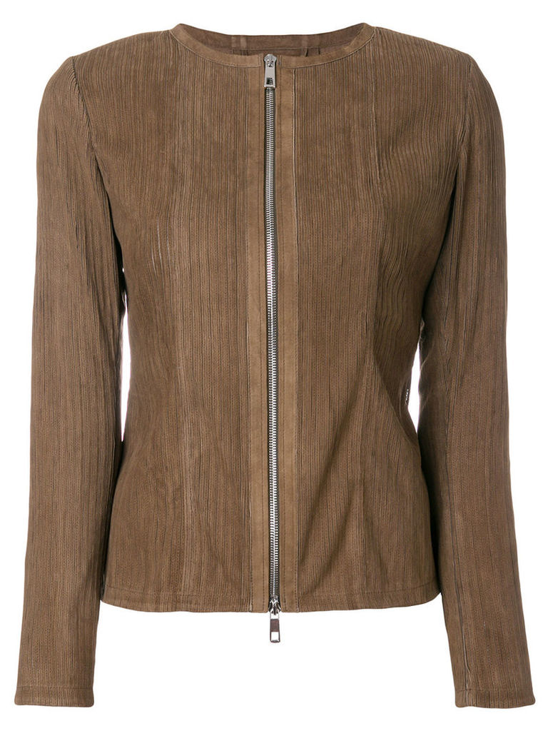 Desa Collection fitted striped jacket - Brown