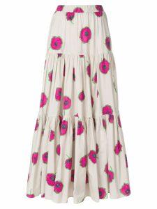 La Doublej long floral print skirt - PINK