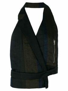 Andrea Ya'aqov backless asymmetric waistcoat - Black