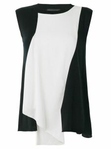 Fabiana Filippi colour block asymmetric drape blouse - Black