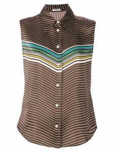 Miu Miu paneled-sleeved blouse - Brown