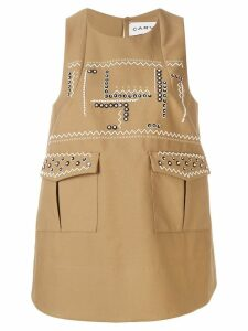 Carven printed sleeveless swing top - Neutrals