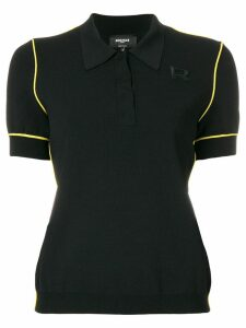Rochas contrast piped polo shirt - Black
