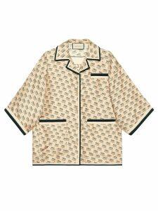 Gucci Gucci invite stamp silk shirt - NEUTRALS
