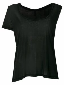 Unravel asymmetric sleeve twisted scoop neck tank - Black