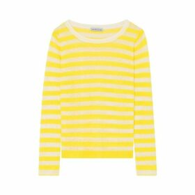 Ille De Cocos Linen Gauze Stripe Sweater - Canary- White