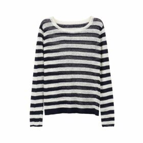 Ille De Cocos Linen Gauze Stripe Sweater - Navy- White