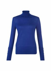 Larissa Merino Wool Roll Neck Cobalt Blue