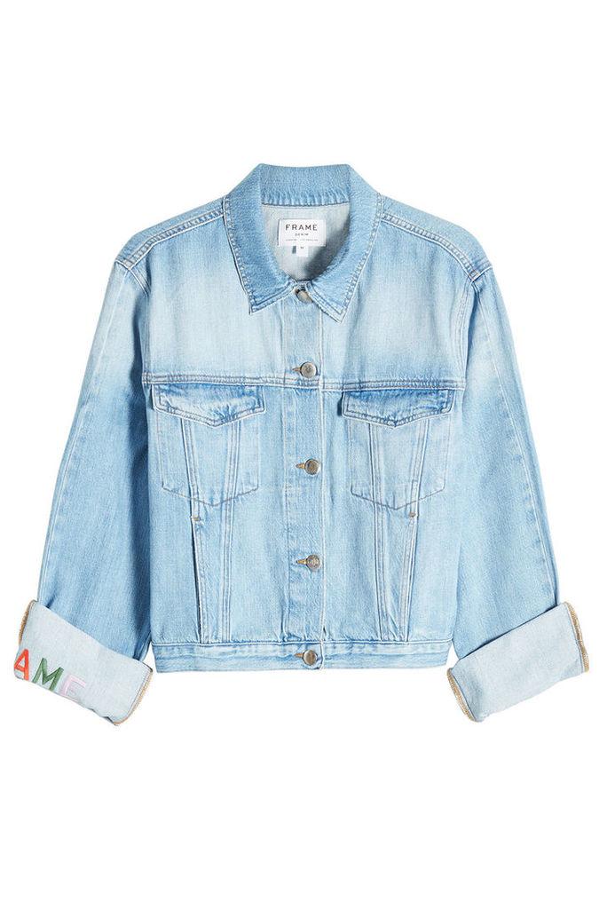 Frame Denim Embroidered Cuff Denim Jacket