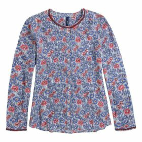Long-Sleeved Floral Print Round Neck Blouse