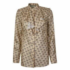 Gucci Stamp Print Silk Shirt
