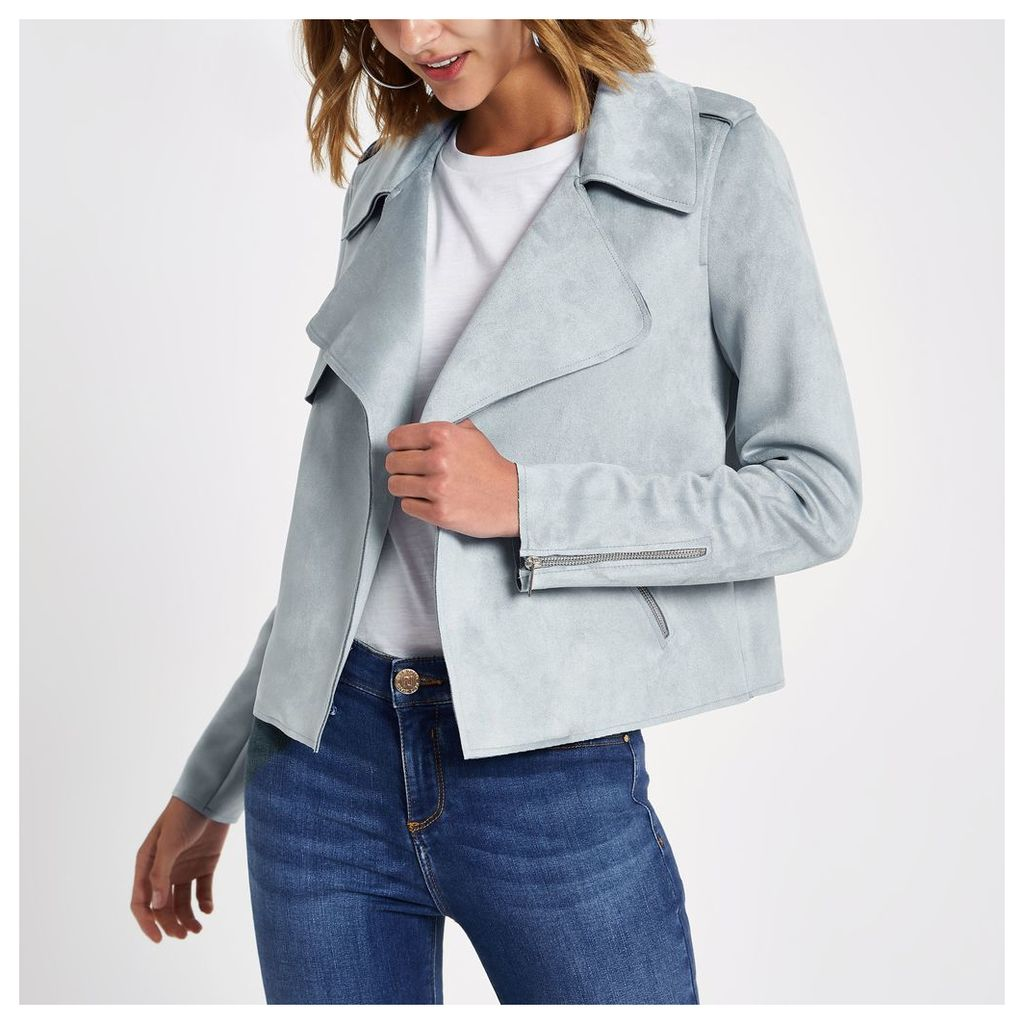 Womens Light Blue faux suede cropped trench jacket