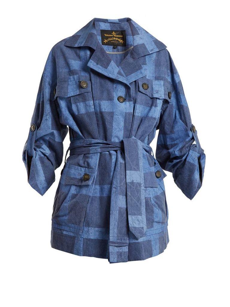 Vivienne Westwood Anglomania - Safari Checked Tie Waist Cotton Jacket - Womens - Denim