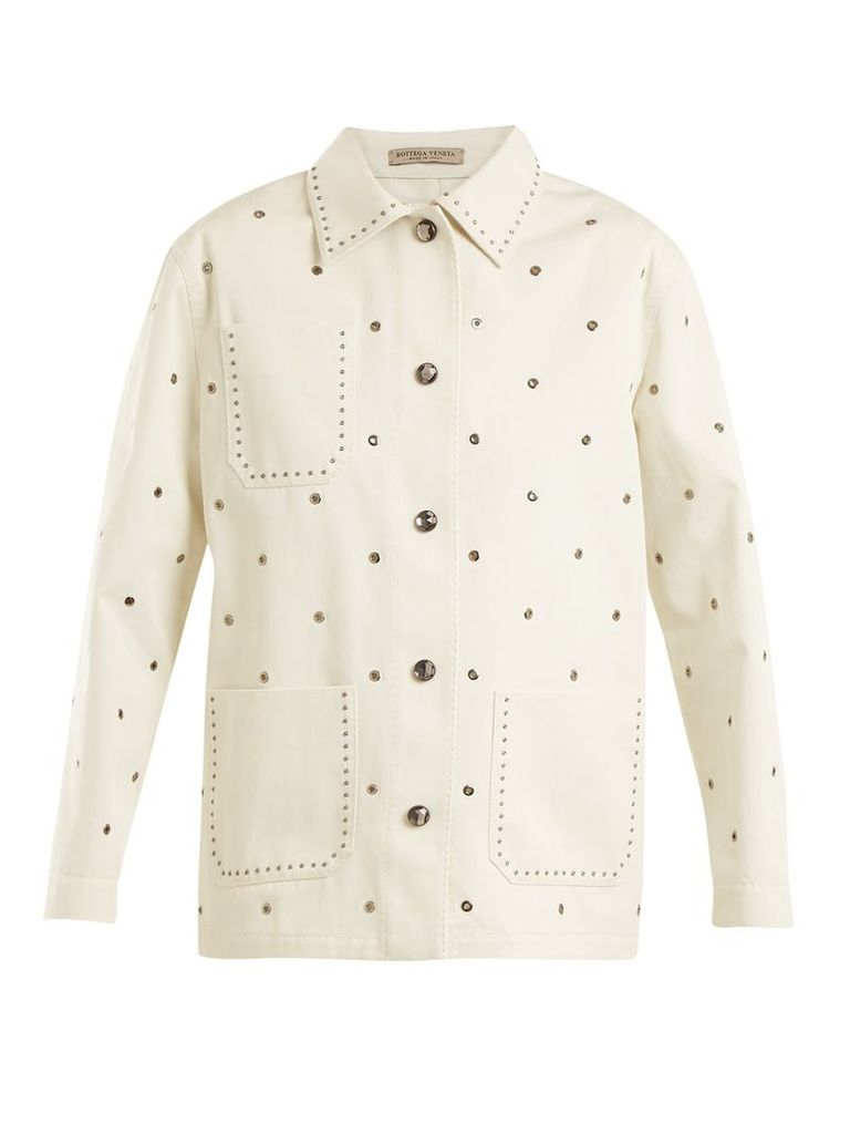 Eyelet-detail cotton-twill jacket