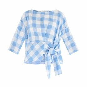 PAISIE - Oversized Boxy Gingham Top With Side Tie