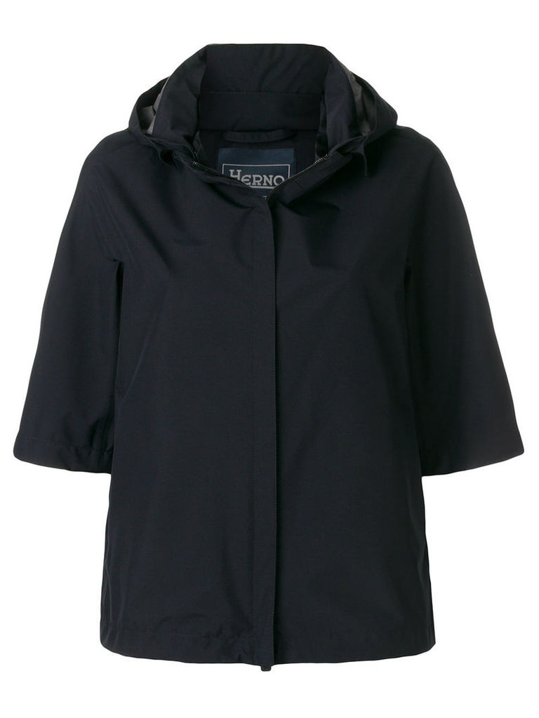 Herno cropped hooded jacket - Blue
