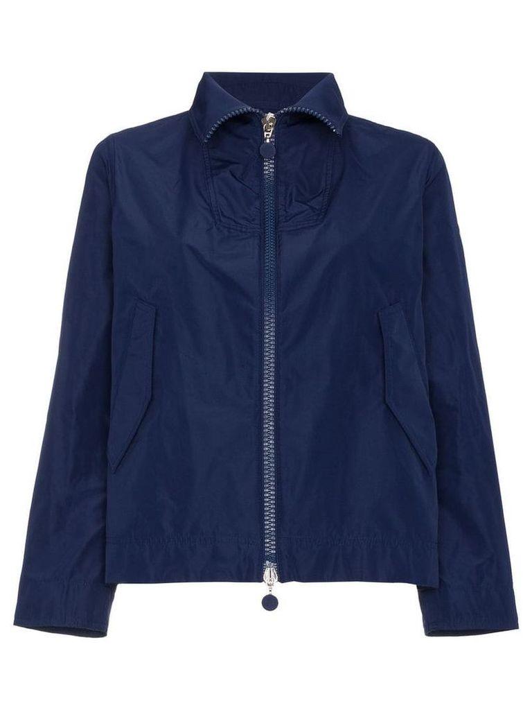 Moncler High Neck Cropped Jacket - Blue