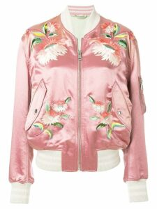 Gucci floral embroidered bomber jacket - PINK