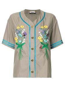 Muveil embroidered button shirt - Brown