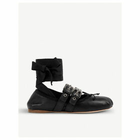 Buckled leather ballerina flats