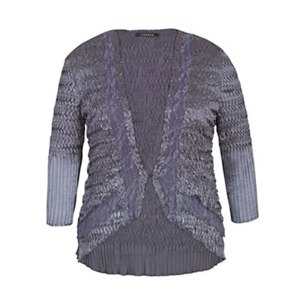 Chesca Pleat Lace and Satin Shrug, Steel