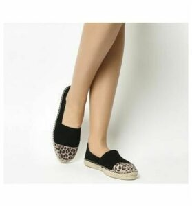 Office Lucky Espadrille With Toe Cap BLACK SUEDE WITH LEOPARD TOE CAP