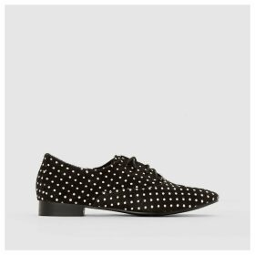 Long-Pile Leather Brogues with Polka Dot Detail