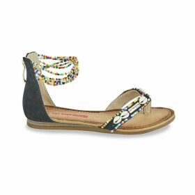 Getta Flat Beaded Sandals with Ankle Cuff