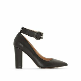 Leather Buckle Detail Heels