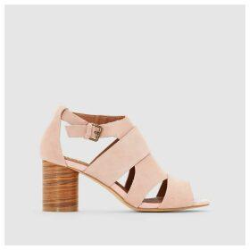 Wooden Look Round Heel Leather Sandals