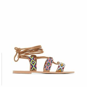 Flat Leather Laced Sandals with Bead Detail