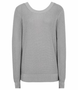 Reiss Corin - Open-back Jumper in Grey, Womens, Size XXL