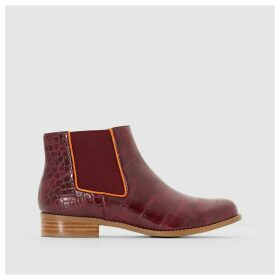 Alexia Mock Croc Leather Ankle Boots