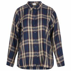 Check Print Blouse with Polo Shirt Collar