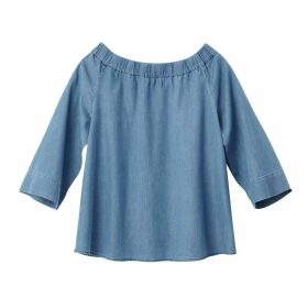 Off-The-Shoulder Denim Blouse