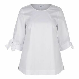 Plain Straight Cut Blouse with 3/4 Length Sleeves