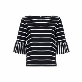 Breton Blouse with 3/4 Length Ruffle Sleeves
