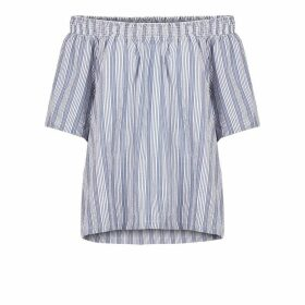 Short-Sleeved Striped Cold Shoulder Blouse