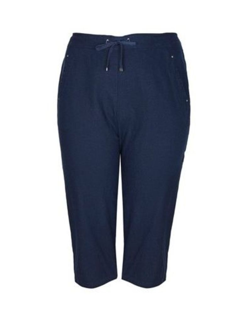 Navy Blue Linen Cropped Trousers, Navy