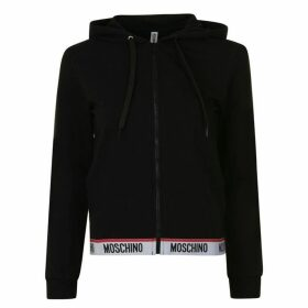Moschino Underwear Logo Band Hooded Zip Sweatshirt