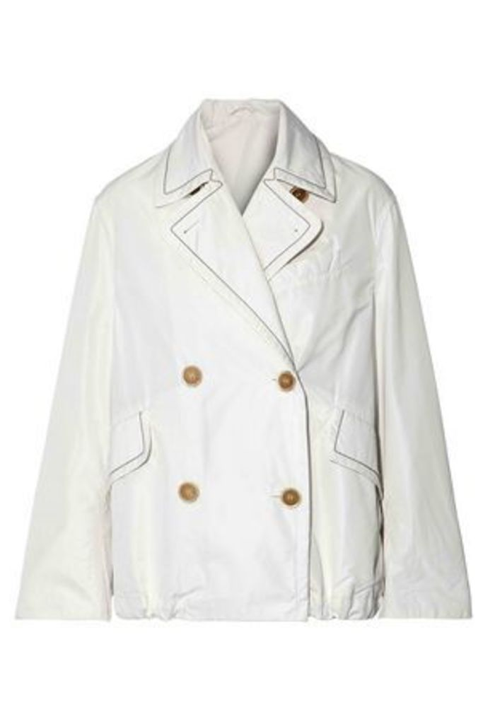 Brunello Cucinelli Woman Double-breasted Bead-embellished Shell Jacket White Size 44